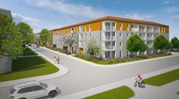 Entwurf GWG-Bauprojekt Dientzenhoferstrasse im Harthof durch Zwischenräume Architekten