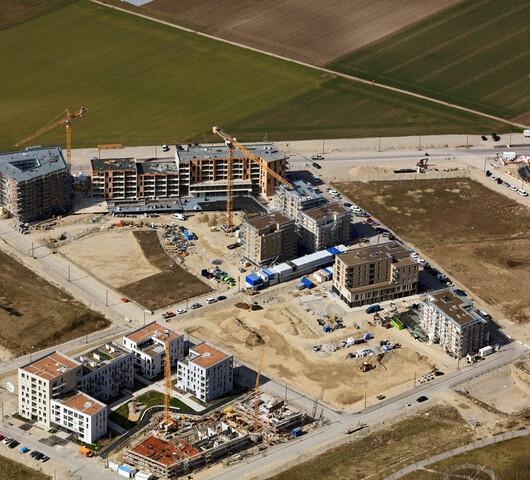 Luftbild der GWG-Baustelle in München-Freiham