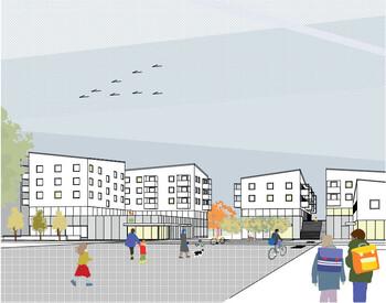 Perspektive Wettbewerbsbeitrag Wiesentfelser Strasse zweiter Rundgang 1014