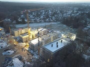 Foto der GWG-Baustelle an der Hentschelstraße aus der Vogelperspektive.