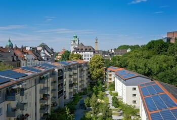 GWG-Wohnanlage Lilienhof im Stadtteil Au, Modellprojekt zur CO2-neutralen Energieversorgung