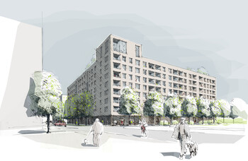 Entwurf GWG-Bauprojekt WA12 auf dem Gelände der ehemaligen Bayernkaserne durch H2R-Architekten München und roedig.schop Architekten Berlin